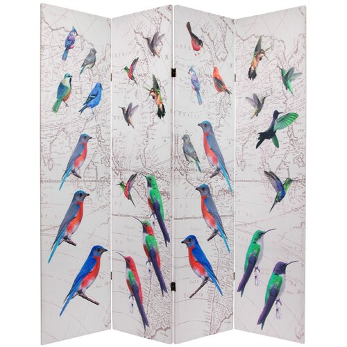 """Oriental Furniture 71.25"""" x 63"""" Birds and Flowers Double Sided 4 Panel Room Divider"""