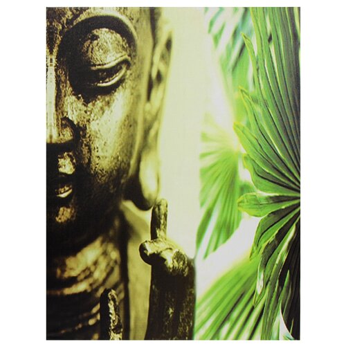 Oriental Furniture Golden Buddha Photographic Print on Canvas