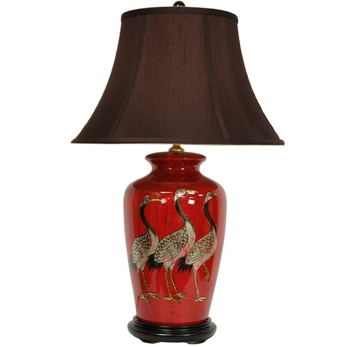 """Oriental Furniture Crowned Cranes Vase 26"""" H Table Lamp with Bell Shade"""