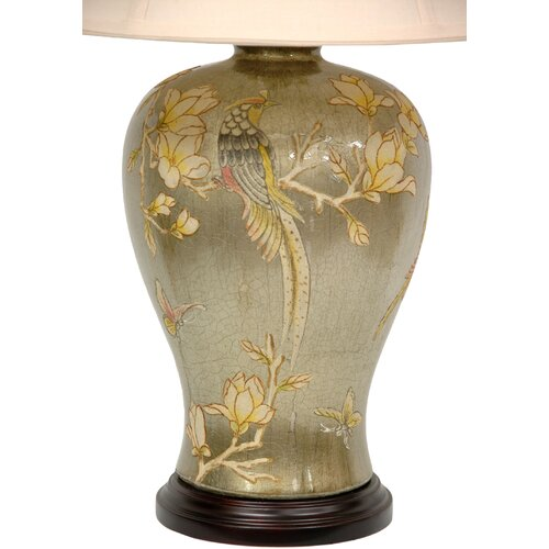 "Oriental Furniture Birds and Flowers 28"" H Vase Table Lamp"