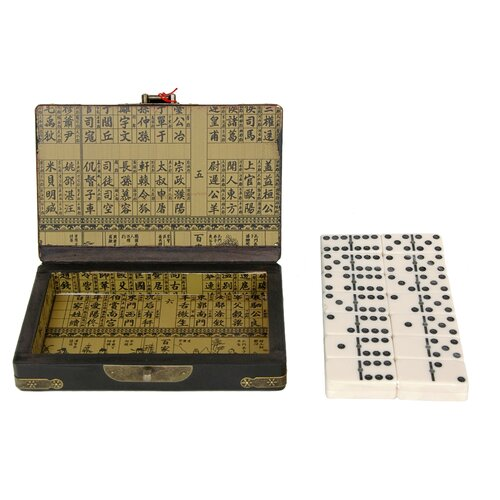 Oriental Furniture Domino Set with Box in Black Lacquer