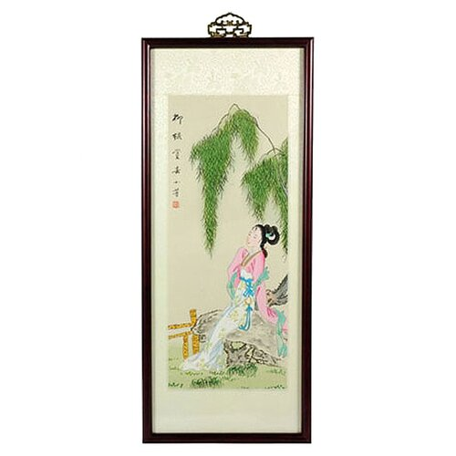 Oriental Furniture Oriental Day Dreamer Watercolor Framed Original Painting