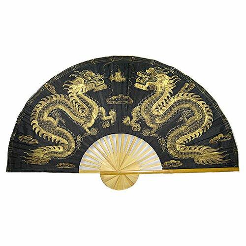 Oriental Furniture Dragons Fan Wall Décor