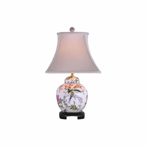 "Oriental Furniture Porcelain Lily Melon Jar 23"" H Table Lamp with Bell Shade"