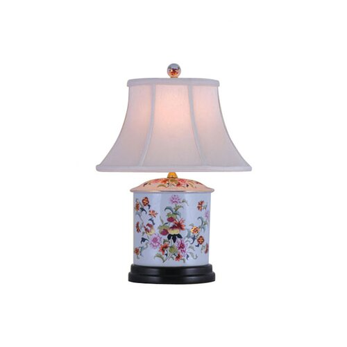"""Oriental Furniture Oval Jar 24"""" H Table Lamp with Bell Shade"""