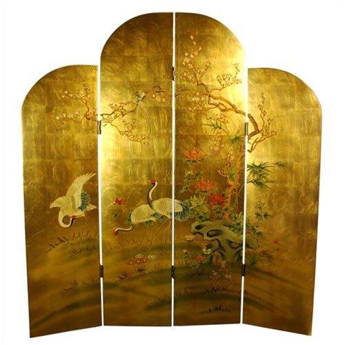 "Oriental Furniture 72"" x 64"" Cranes Decorative 4 Panel Room Divider"