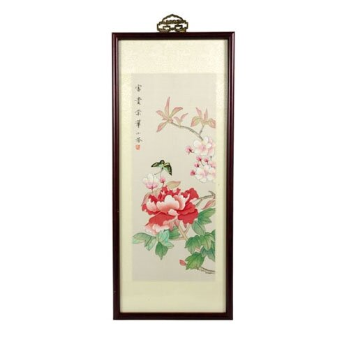 Oriental Butterfly Blossoms Watercolor Framed Original Painting