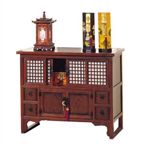 Oriental Furniture Shoji 2 Door 4 Drawer Lattice Chest