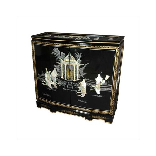 Oriental Furniture Chinese Ladies Design Slant Front Cabinet