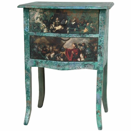 Oriental Furniture Distressed Gathering 2 Drawer Nightstand