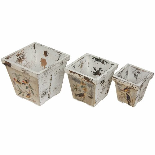 Rustic Peaceful Birds Flower Planter (Set of 3)