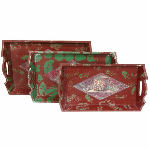 Oriental Furniture Distressed Rectangular Serving Tray (Set of 3)
