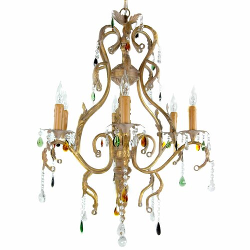 Iron Scrolls Crystal Chandelier