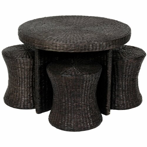 Rush Grass Coffee Table with Four Stool