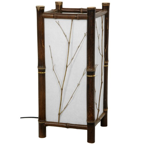 """Oriental Furniture Hayashi Japanese 17.5"""" H Table Lamp with Square Shade"""