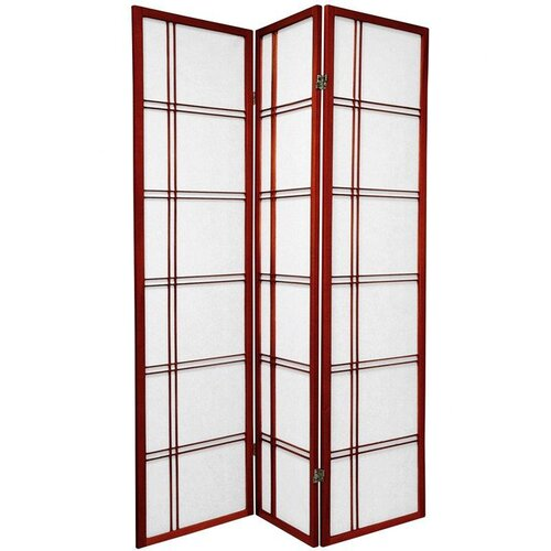 "Oriental Furniture 70"" x 51"" Double Cross Shoji 3 Panel Room Divider"