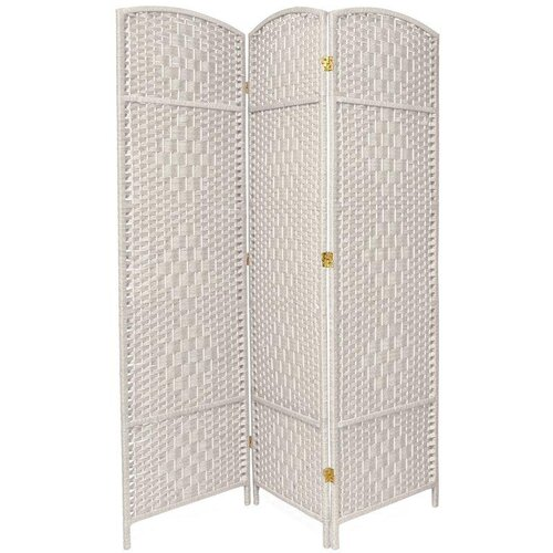 "Oriental Furniture 71"" x 48"" Diamond Weave 3 Panel Room Divider"