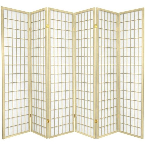 "Oriental Furniture 70"" x 84"" Window Pane Shoji 6 Panel Room Divider"