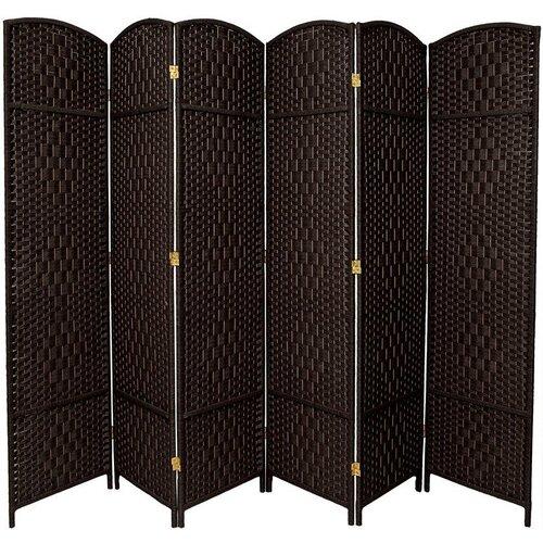 "Oriental Furniture 82.75"" x 118.5"" Diamond Weave 6 Panel Room Divider"