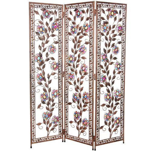 "Oriental Furniture 54"" x 40.5"" Tall Vines and Flowers Beaded 3 Panel Room Divider"
