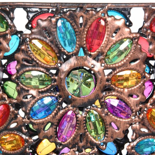 Oriental Furniture Bejeweled Flower Waste Basket