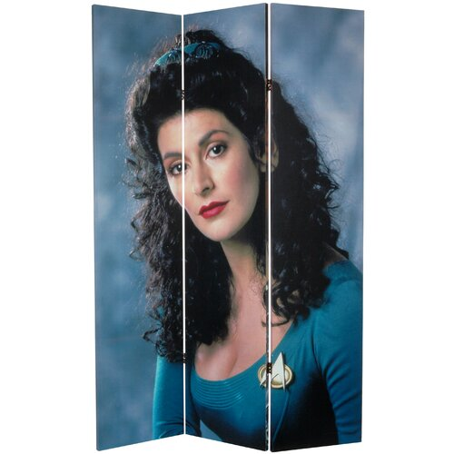 """Oriental Furniture 71"""" x 47.25"""" Star Trek Tall Double Sided Worf and Troi 3 Panel Room Divider"""