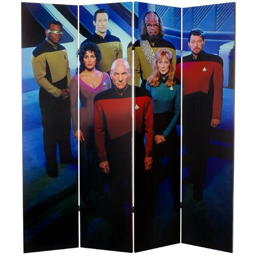 "Oriental Furniture 71"" x 63"" Star Trek Tall Double Sided The Next Generation 4 Panel Room Divider"