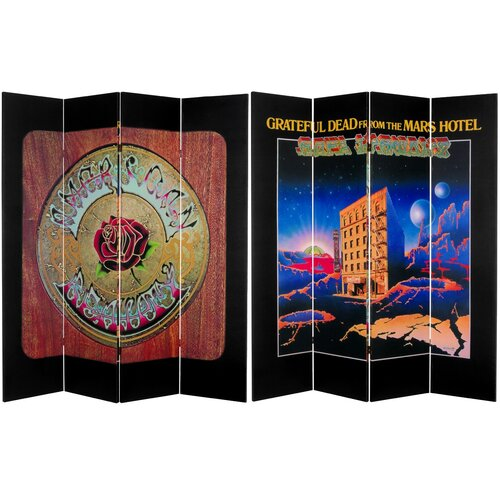 """Oriental Furniture 71"""" x 63"""" Tall Double Sided Grateful Dead Mars Hotel / American Beauty 4 Panel Room Divider"""