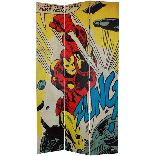 """Oriental Furniture 84"""" x 51"""" Tall Double Sided Captain America/Iron Man 3 Panel Room Divider"""