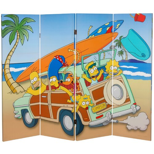 "Oriental Furniture 48"" x 63"" Tall Double Sided Simpson Family Vacation 4 Panel Room Divider"
