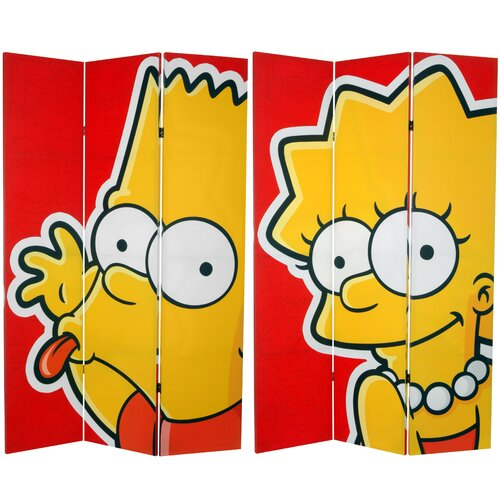 "Oriental Furniture 71"" x 47.25"" Tall Double Sided Bart and Lisa 3 Panel Room Divider"