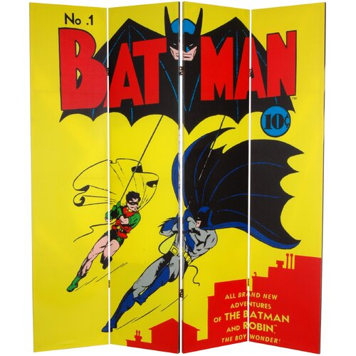 "Oriental Furniture 71"" x 63"" Tall Double Sided Batman and Robin 4 Panel Room Divider"