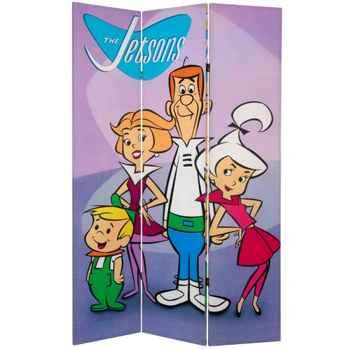 "Oriental Furniture 71"" x 47.25"" Tall Double Side Jetsons 3 Panel Room Divider"