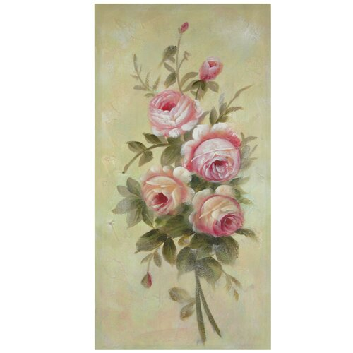 Oriental furniture hand painted rustic roses in bloom for Hand painted oriental furniture