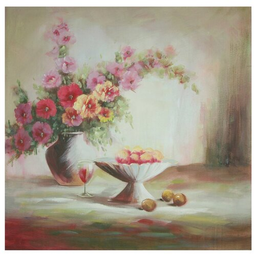 Hand Painted Evening Peaches and Flowers Original Painting on Canvas