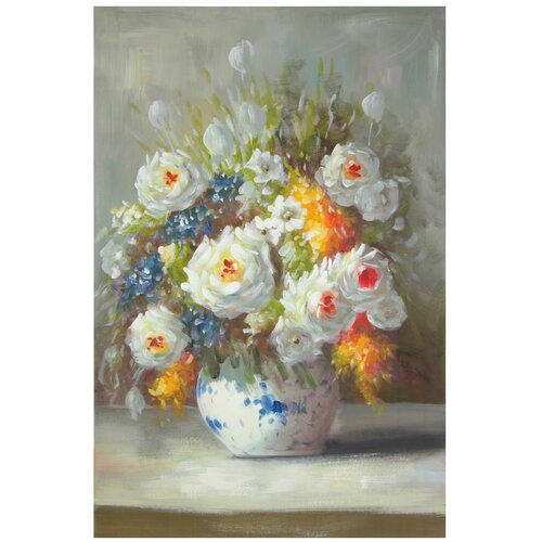 Hand Painted Peonies on a Sunlit Sill Original Painting on Canvas