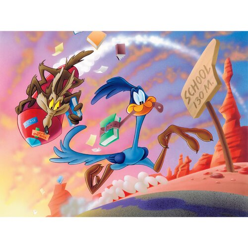 Oriental Furniture Road Runner and Wile E. Coyote Graphic Art on Canvas