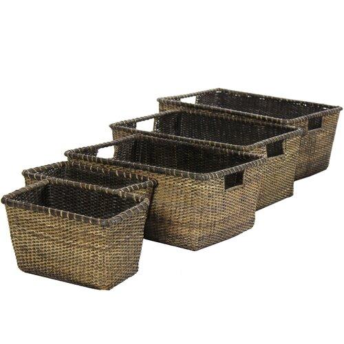 Oriental Furniture Rattan Space Saver Basket
