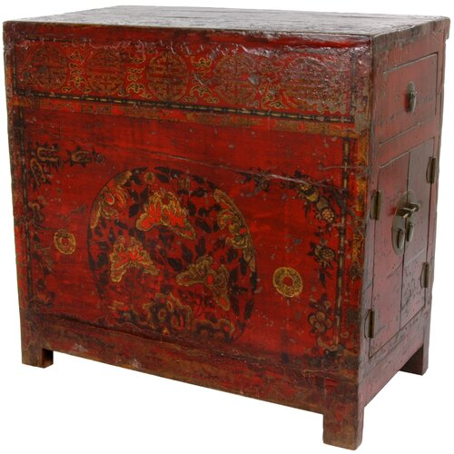 Chinese Hand Painted 2 Drawer Cabinet