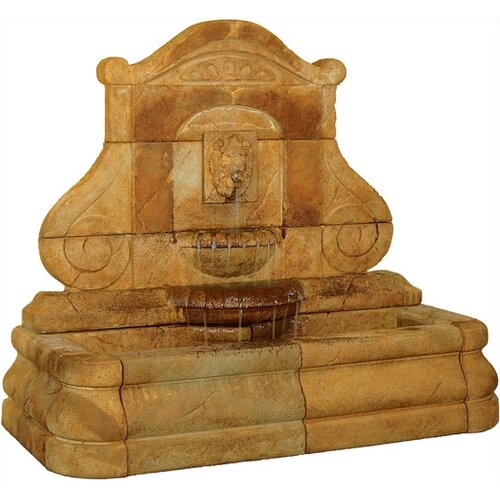 Henri Studio Wall Cast Stone Avignon Lion Cascade Fountain