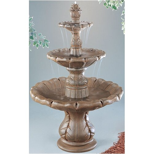 Henri Studio Three-Tier Cast Stone Classical Finial Waterfall Fountain