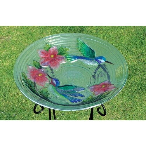 Evergreen Enterprises, Inc HumBird Couple Bird Bath in Glass