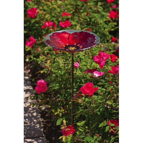 Evergreen Enterprises, Inc Bird Bath Stake RubyPansy in Glass