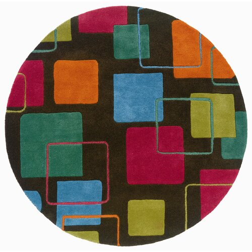 LR Resources Vibrance Charcoal Geometric Squares Rug