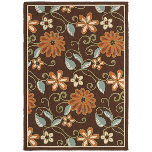 LR Resources Lanai Chocolate/Blue Rug