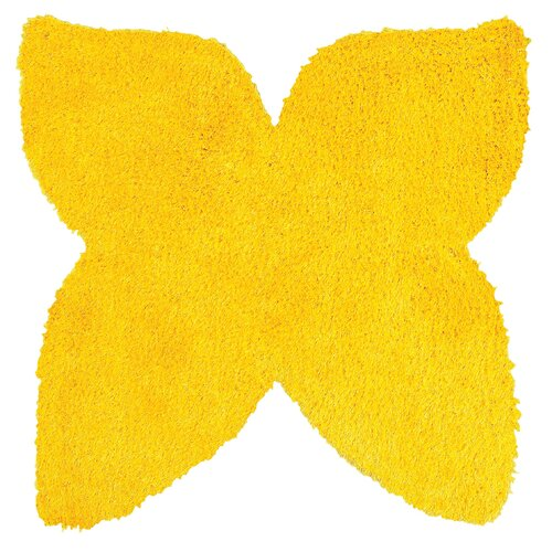 LR Resources Senses Shag Yellow Butterfly Kids Rug