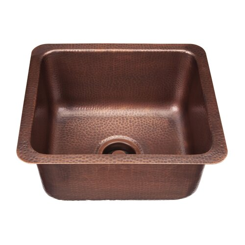 "Thompson Traders Renovations 17"" x 15"" Como Square Hand Hammered Bar Sink"