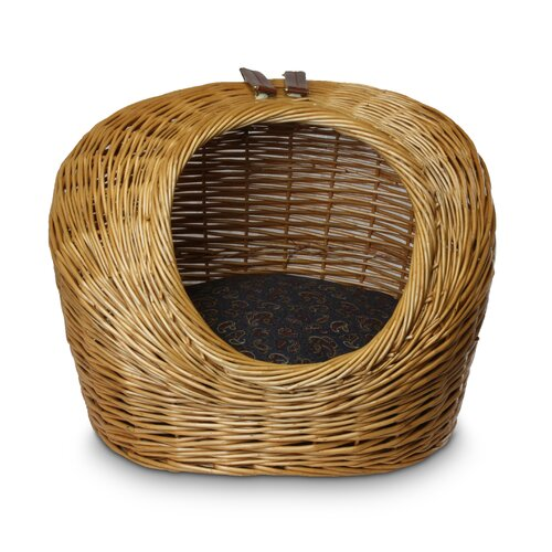 Wicker Paisley Print Cat Basket and Bed