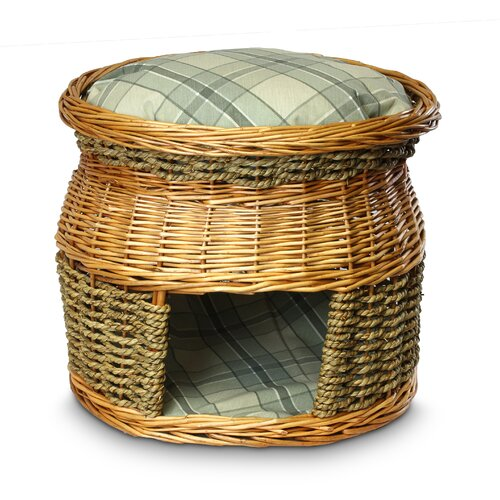 Wicker Double Decker Sage Plaid Cat Basket and Bed