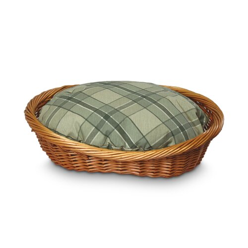 Wicker Sage Plaid Dog Basket and Bed